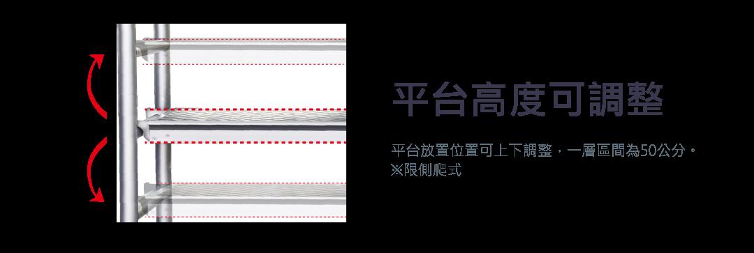平台高度可調整 平台放置位置可上下調整,一層區間為50公分。 ※限側爬式