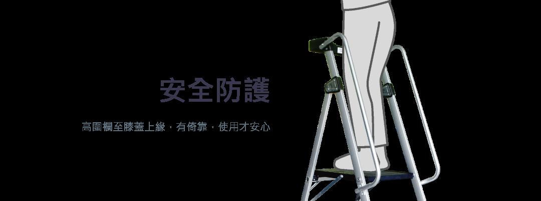 安全防護 高圍欄至膝蓋上緣,有倚靠,使用才安心